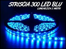 STRISCIA LED BLU ALIMENTATORE INCLUSO  BOBINA 5M  3528 300 LED IP65 DA ESTERNO