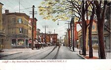c.1905 Stores Bay St looking South from Park Stapleton NY postcard Staten Island
