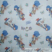 BonEful Fabric FQ Cotton Quilt Blue VTG Holly Hobbie Doll Gingham Word Butterfly