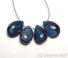 4 pcs LONDON BLUE TOPAZ 14-15mm Faceted Teardrop Beads AA /t11