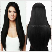 Women's Fashion Black Long Straight Hair Synthetic Cosplay Wigs Full  Wig Cap