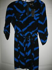 NWT faux wrap Yumi Kim Glam Black & Blue Geo Print short silk dress sz S small