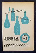 B739-Advertising Pubblicità-1953-IDRIZ POLVERI PER ACQUA DA TAVOLA