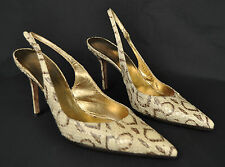 Dolce & Gabbana D&G Cream Brown Snakeskin Slingback Pointed Heel Shoes 39 Italy