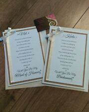 A5 will you be my bridesmaid / maid of honour cards - wedding (any colours)