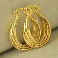 24k Yellow Gold Plated Womens Girls Vintage Smooth Pierced Small Hoop Earrings