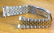 20mm Curved Jubilee Style Two Tone Stainless Metal Watch Band Link Bracelet