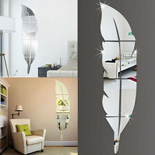 DIY Modern Feather Acrylic Mirror Wall Stickers Room Decal Decoration Silver