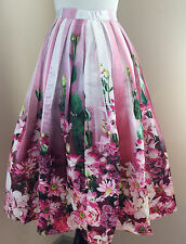 Chicwish Hot Pink Floral Tulle Print Midi Skirt - Pink Green White - XS 0 2