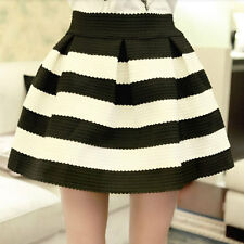 New Ponte Skirts Stripe Pleated High Waist Skater Tutu Skirt Mini Short Dress