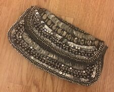 Accessorize Silver Beaded Clutch Bag BNWOT
