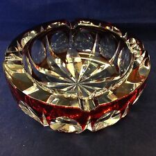 Large Glass Ashtray By St Louis France Cut Glass ruby Retro Stamped