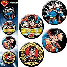 Superman Action pics. strip of 4 round pin badges    (cv) REDUCED