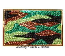Camouflage Green Crystal Gold Business Card Holder Case with Swarovski Crystals