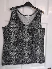 LADIES CANDA  C&A  V  NECK SLEEVELESS TOP COLOUR: BLACK/,WHIITE & GREY SIZE: L