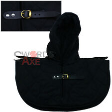 Renaissance Medieval Cotton Padded Armor Collar and Coif Arming Cap - Black