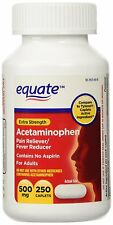 Equate Extra Strength Acetaminophen Pain Reliever 500mg 500 Caplets = 2x 250 ct