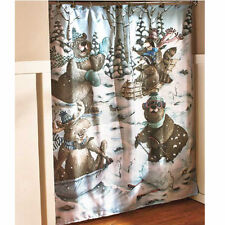 Country Decor For Bathroom Decorating Ideas Bear Cabin Winter Shower Curtain