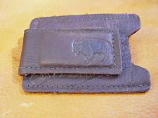 Brown Bison Buffalo Leather Money Clip Card Case hand crafted disabled vet 5003