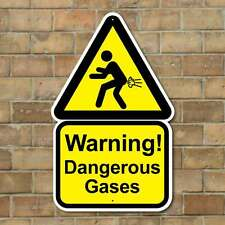 DANGEROUS GASES FUNNY WARNING SIGN, JOKE TOILET SIGN, RUDE WIND MAN CAVE SIGN,