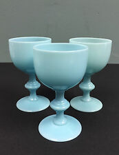 LOT 3 Vintage Portieux Vallerysthal PV French Blue Opaline Milk Glass Wine Stem