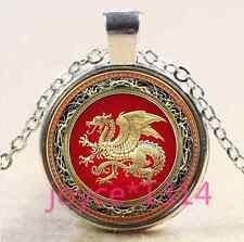 Celtic dragon Cabocho Cabochon Tibetan silver Glass Chain Pendant Necklace #3217