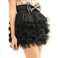 Lovely Girls Full Tutu Tulle Tier 5 Layer Mini Cake Skirt Black for Women