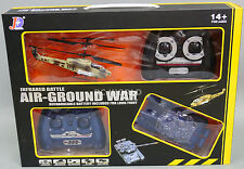 RC Micro APACHE HELICOPTER vs TANK Ground War Combat Laser TAG Battle Set -