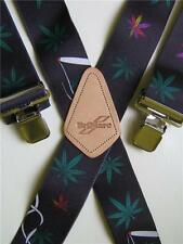 "Mens Braces Marijuana Leaf Design Heavy Duty 2"" 50mm Wide"