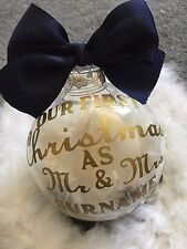 Personalised Our/Your First Christmas/Year as Mr and Mrs Bauble Decorations Gift