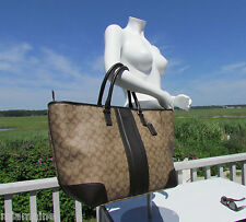 NEW COACH 71130 heritage signature khaki leather trim canvas weekend $548 tote