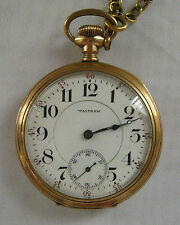 Antique Gold Open Faced Waltham Gentlemans Pocket Watch 23 Jewels
