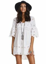 3539 New Odd Molly Free Flow Floral Embroidered White Cotton Tunic Dress S 1