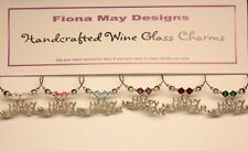 Wine Glass Charm Rings HAPPY NEW YEAR UNISEX set of 6 - with Swarovski Crystals