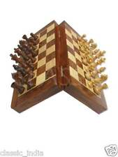 "Wooden MAGNETIC Chess 10x10"" Natural Wood carved Coins~ Box board Pocket folding"