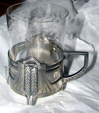 "Antique WMF PEWTER ART NOUVEAU Cup holder and glass dated to ""1914"""