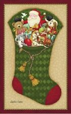 Santa's Here Stocking Pane Xmas/Christmas-Nancy Halvorsen Benartex Cotton Fabric