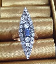 Antique Victorian/Edwardian Marquise Old Cut Diamond & Sapphire Ring ?18k Gold.