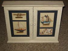 Wooden Wall Box Key Holder Case with Sea/Sail Decoration