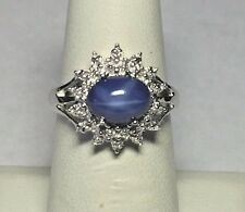 Silver 9x7mm Oval Cabochon-cut Created Blue Star Sapphire & Diamond Ladies Ring