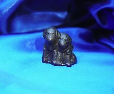 Vintage metal 2 spaniel puppy bow solid paperweight telephone pencil dog w loop