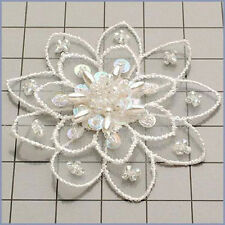 CRYSTAL IRIS PEARLED SEQUIN BEADED FLOWER APPLIQUE  2368-E