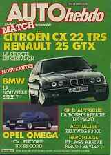 AUTO HEBDO n°536 du 20 Août 1986 ALFA SPIDER R25 GTX CX 22 TRS