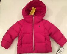 NWT Ralph Lauren Polo Pony Pink Girl Down Hooded Coat Jacket 2 2T