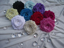 10 Large Handmade Satin Ribbon Roses Flower Craft/ DIY/Wedding/Appliques