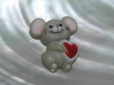 Vintage Russ Marked Gray Plastic Smiling Mouse with Valentine Red Pin Brooch –