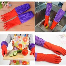 Natural Rubber Household Kitchen Thick Warm Long Gloves Dish Washing Cleaning