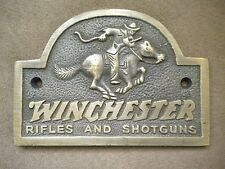 Solid Brass Winchester Guns Hunting Horse Pony Rider Store Plaque Sign Free Ship