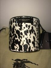 NEW BURBERRY AUTHENTIC PRINTHILL PRINTED LEATHER BANGLE BRACELET WHITE BROWN