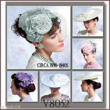 V8052 Vogue Accessories Sewing Pattern Women's circa 1930-1940s Historical Hats